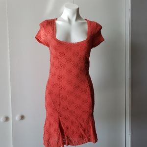 Free People Coral Lace Dress